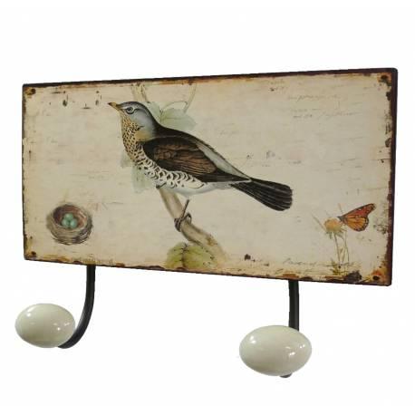 Porte Manteaux Double Crochets Porcelaine Mural avec Plaque Décorative Motif Oiseaux en Fer Patiné Marron 7x12x17cm
