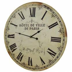 Horloge Murale de Salon en Bois Pendule de Cuisine Hotel De Ville De Paris 4x58x58cm