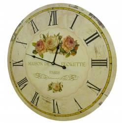 Horloge Murale de Salon en Bois Pendule de Cuisine Maison De Florette 4x58x58cm