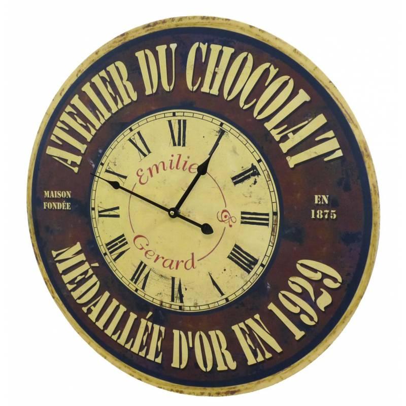horloge murale de salon en bois pendule de cuisine atelier du chocolat 4x58x58cm l 39 h ritier du. Black Bedroom Furniture Sets. Home Design Ideas