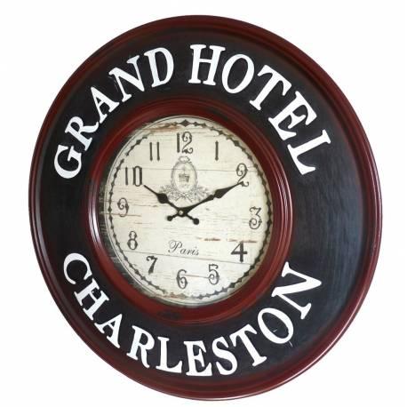 Horloge Murale Pendule en Fer et Verre Grand Hotel Charleston 6x60x60cm