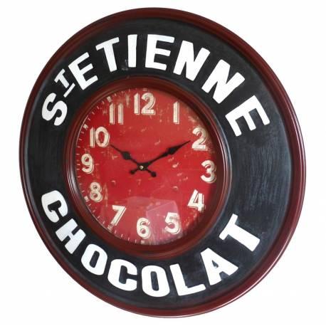 Horloge Murale Pendule en Fer et Verre St Etienne Chocolat 6x60x60cm