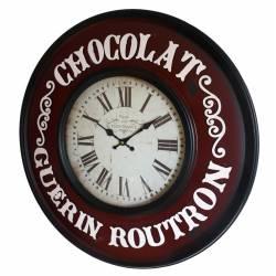Horloge Murale Pendule en Fer et Verre Chocolat Guerin Routron 6x60x60cm