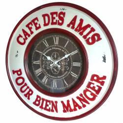 Horloge Murale Pendule en Fer et Verre Café Des Amis Pour Bien Manger 6x60x60cm