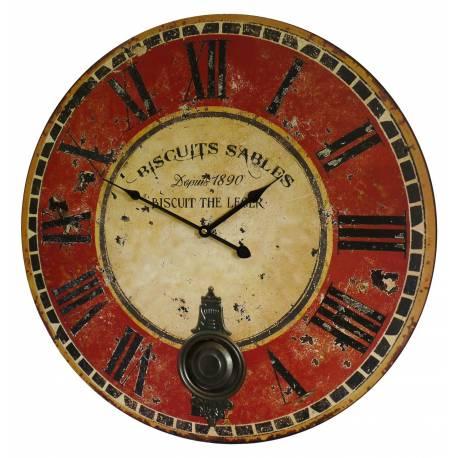 Horloge Murale de Salon en Bois Pendule à Balancier de Cuisine Biscuits Sablés 4x58x58cm