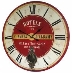 Horloge Murale de Salon en Bois Pendule à Balancier de Cuisine Hotel St James Albamy 4x58x58cm