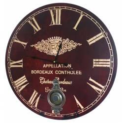 Horloge Murale de Salon en Bois Pendule à Balancier de Cuisine Appellation Bordeaux 4x58x58cm