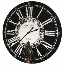 Horloge Murale de Salon en Bois Pendule à Balancier de Cuisine Grand Hotel 4x58x58cm