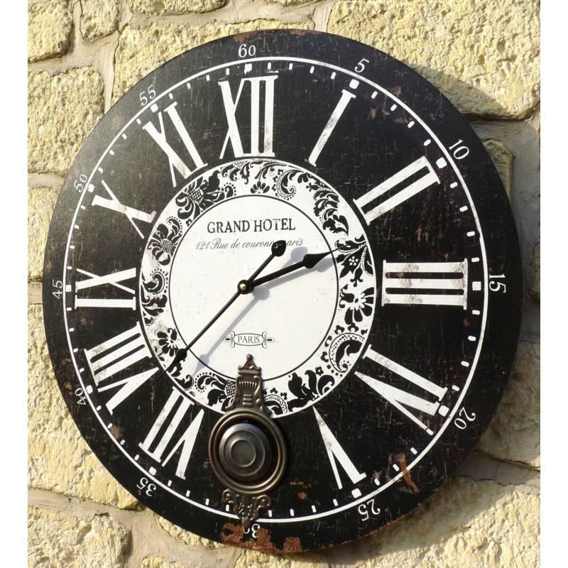 Horloge murale de salon en bois pendule balancier de - Grande horloge murale bois ...