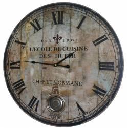 Horloge Murale de Salon en Bois Pendule à Balancier de Cuisine Ecole De Cuisine St Huber 4x58x58cm
