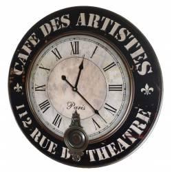 Horloge Murale de Salon en Bois Pendule à Balancier de Cuisine Café Des Artistes 4x58x58cm