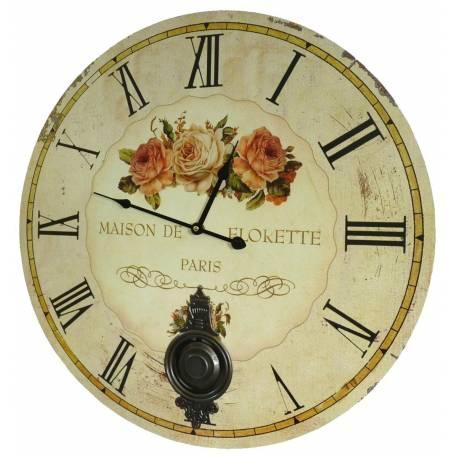 Horloge Murale de Salon en Bois Pendule à Balancier de Cuisine Maison De Florette 4x58x58cm