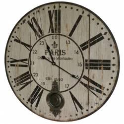 Horloge Murale de Salon en Bois Pendule à Balancier de Cuisine Paris Chateau 4x58x58cm