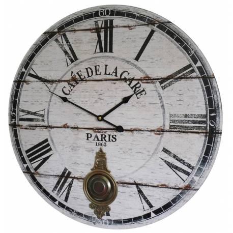 Horloge Murale de Salon en Bois Pendule à Balancier de Cuisine Café De La Gare 4x58x58cm