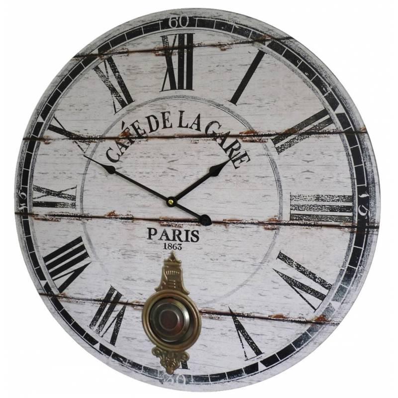 Horloge murale de salon en bois pendule balancier de - Horloge de gare murale ...