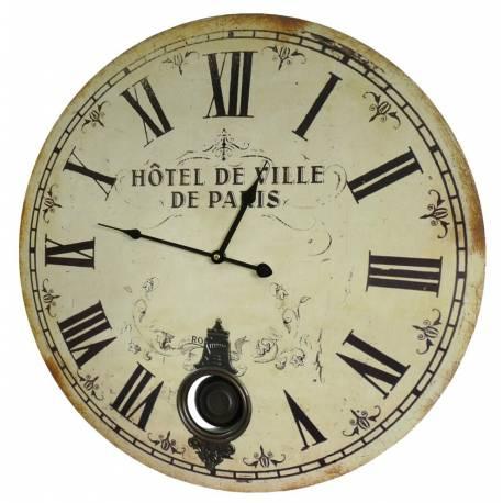 Horloge Murale de Salon en Bois Pendule à Balancier de Cuisine Hotel De Ville De Paris 4x58x58cm