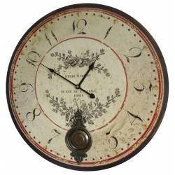 Horloge Murale de Salon en Bois Pendule à Balancier de Cuisine Henri Dupont 4x58x58cm