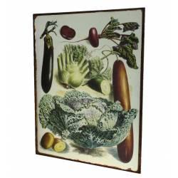 Plaque Murale Décoration Rétro Style Déco Publicitaire Motif Légumes en Fer 26x35cm