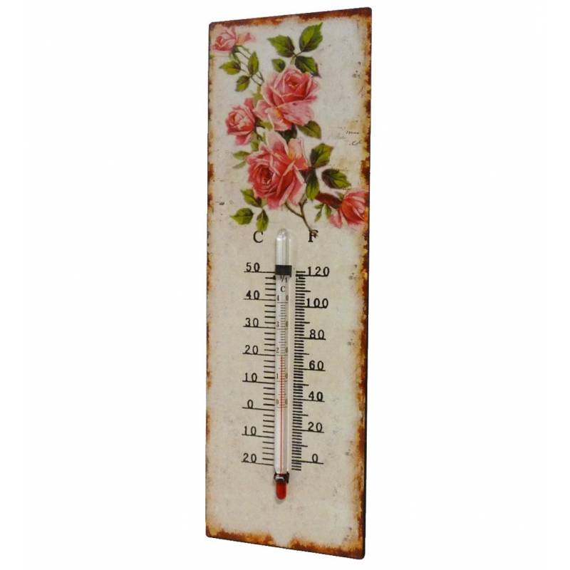 thermom tre mural d coratif en celsius et farenheit ou poser motif floral en fer et papier