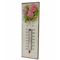 """Thermomètre Mural Décoratif en Celsius et Farenheit ou à Poser Motif """"Floral Vintage"""" en Fer et Papier Vernis 0,5x8x25cm"""