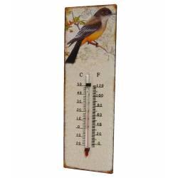 """Thermomètre Mural Décoratif en Celsius et Farenheit ou à Poser Motif """"Oiseaux Ancien"""" en Fer et Papier Vernis 0,5x8x25cm"""