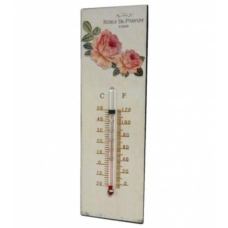 """Thermomètre Mural Décoratif en Celsius et Farenheit ou à Poser Motif """"Floral"""" à l'Ancienne en Fer et Papier Vernis 0,5x8x25cm"""