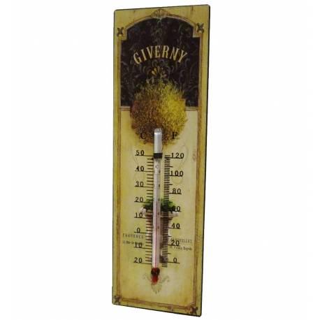 """Thermomètre Mural Décoratif en Celsius et Farenheit ou à Poser Motif """"Floral Ancien"""" en Fer et Papier Vernis 0,5x8x25cm"""