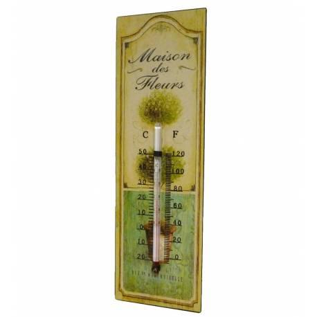 """Thermomètre Mural Décoratif en Celsius et Farenheit ou à Poser Motif """"Floral"""" en Fer et Papier Vernis 0,5x8x25cm"""
