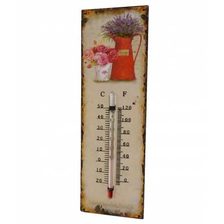 """Thermomètre Mural ou à Poser Décoratif en Celsius et Farenheit Motif """"Floral Ancien"""" en Fer et Papier Vernis 0,5x8x25cm"""