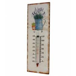 """Thermomètre Mural Décoratif en Celsius et Farenheit ou à Poser Motif """"Nature Ancienne"""" en Fer et Papier Vernis 0,5x8x25cm"""