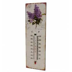 """Thermomètre Mural Décoratif en Celsius ou Farenheit ou à Poser Motif """"Floral"""" en Fer et Papier Vernis 0,5x8x25cm"""