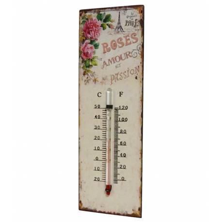 """Thermomètre Mural Décoratif en Celsius et Farenheit ou à Poser Motif """"Floral Ancien"""" en Fer et Papier 0,5x8x25cm"""