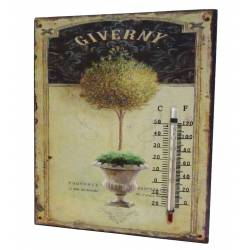 """Plaque Décorative Murale Carrée ou à Poser avec Thermomètre Motifs """"Floraux à l'Ancienne"""" en Fer 0,5x20x25cm"""