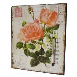 """Plaque Décorative Murale Carrée ou à Poser avec Thermomètre Motifs """"Floraux Vintage"""" en Fer 0,5x20x25cm"""