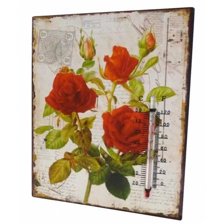 """Plaque Décorative Murale Carrée ou à Poser avec Thermomètre Motifs """"Floraux"""" en Fer 0,5x20x25cm"""