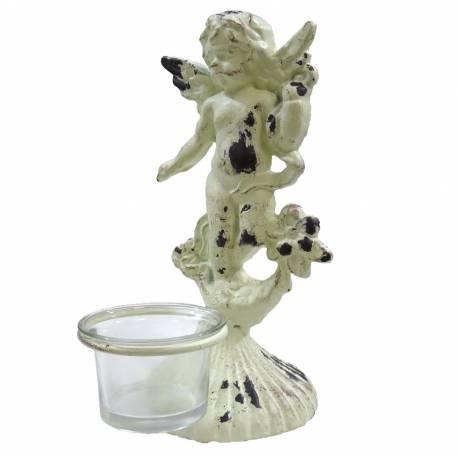 Bougeoir Sculpture Style Chérubin ou Angelot à Poser ou Porte Photophore 1 Bougie en Fonte Patinée Blanche 9,5x9,5x21cm