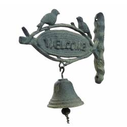 Cloche Murale Carillon de Porte Sonnette Enseigne Inscription Welcome en Fonte Patinée Grise 8x23x24cm
