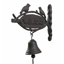 Cloche Murale Carillon de Porte Sonnette Enseigne Inscription Welcome en Fonte Patinée Marron 8x23x24cm