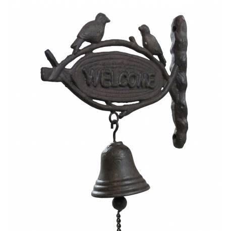 Cloche Murale Carillon de Porte Sonnette Enseigne Inscription Welcome en Fonte Patinée Marron 8x23x24cm