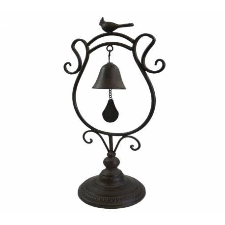 Cloche de Comptoir ou Carillon à Poser à Motif Oiseaux en Fer Patiné Marron 15,5x23,5x46cm