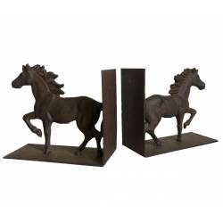 Ensemble de 2 Serres Livres Motifs Chevaux ou Maintien Ouvrages Style Equestre en Fonte Patinée Marron 8x15,5x18cm