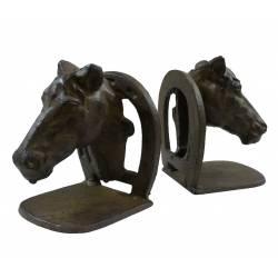Set de 2 Serres Livres Motif Cheval ou Maintien Ouvrages Thème Equestre en Fonte Patinée Marron 9,5x11x14,5cm