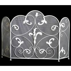 Pare Feu de Cheminée ou Poêle à Trois Pans Grillagé Ecran de Foyer Grille de Protection en Fer Blanc 70x114cm