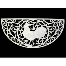 Tapis Forme Demi Lune ou Gratte Pieds Motif Coq en Fonte Patinée Blanche 2x41x81cm