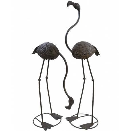 Set de 2 Herons sur Pied ou Duo de Statues de Volatiles à Poser en Fer Patiné Marron 50x50x100cm