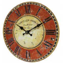 Horloge Murale Pendule Ronde de Cuisine ou Salon en Bois et Papier Biscuits Sablés 4x34x34cm