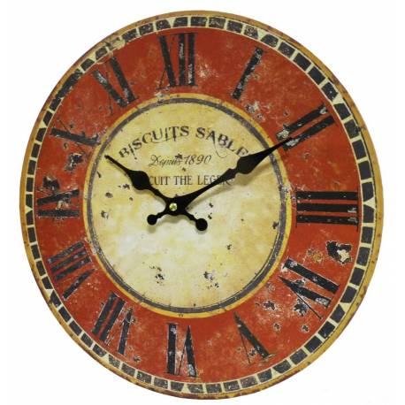 Horloge murale pendule ronde de cuisine ou salon en bois for Horloge murale de cuisine
