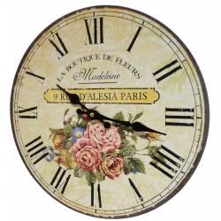 Horloge Murale Pendule Ronde de Cuisine ou Salon en Bois et Papier La Boutique De Fleurs Madeleine 4x34x34cm