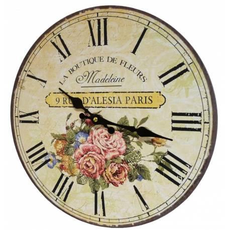 Horloge murale pendule ronde de cuisine ou salon en bois et papier la boutique de fleurs - Pendule de cuisine ...