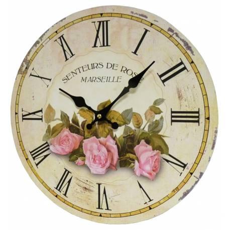 Horloge Murale Pendule Ronde de Cuisine ou Salon en Bois et Papier Senteurs de Rose Marseille 4x34x34cm